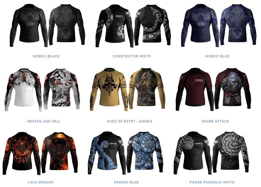 raven fightwear rash guard different designs