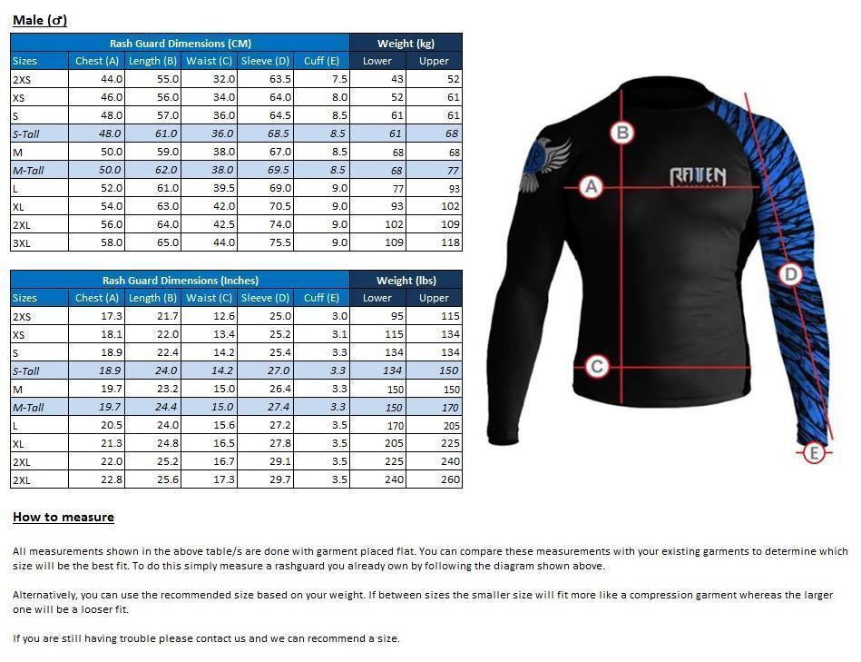 raven fightwear rash guard size chart