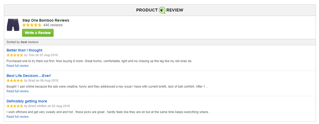 Step One Bamboo Underwear - 5 Star Reviews