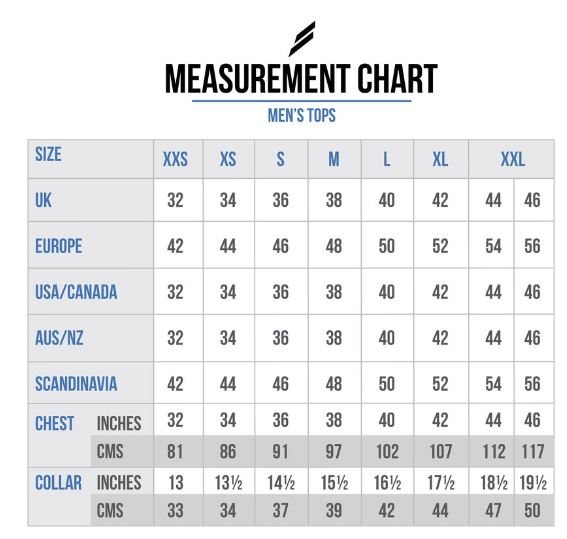 doyoueven - mens tops measurement chart