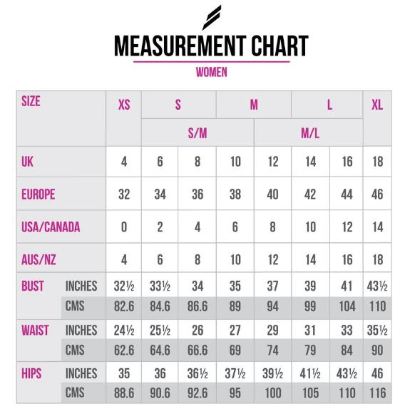 doyoueven - womens measurement chart